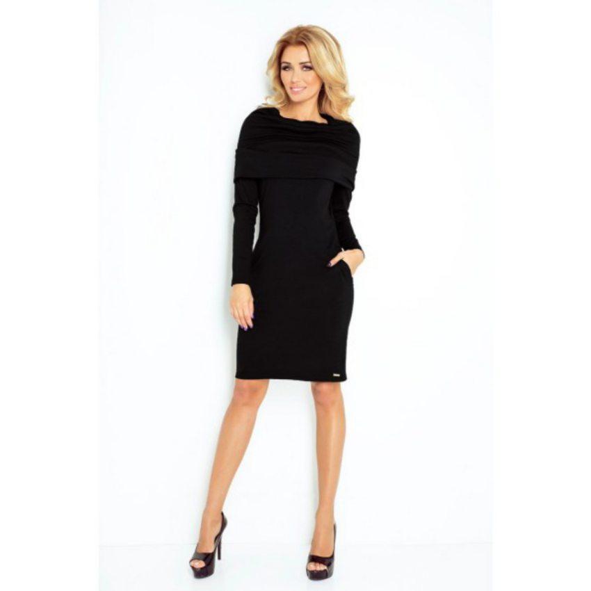 Elegantné dámske šaty s rolákom - čierne 6aaeedbe6d7