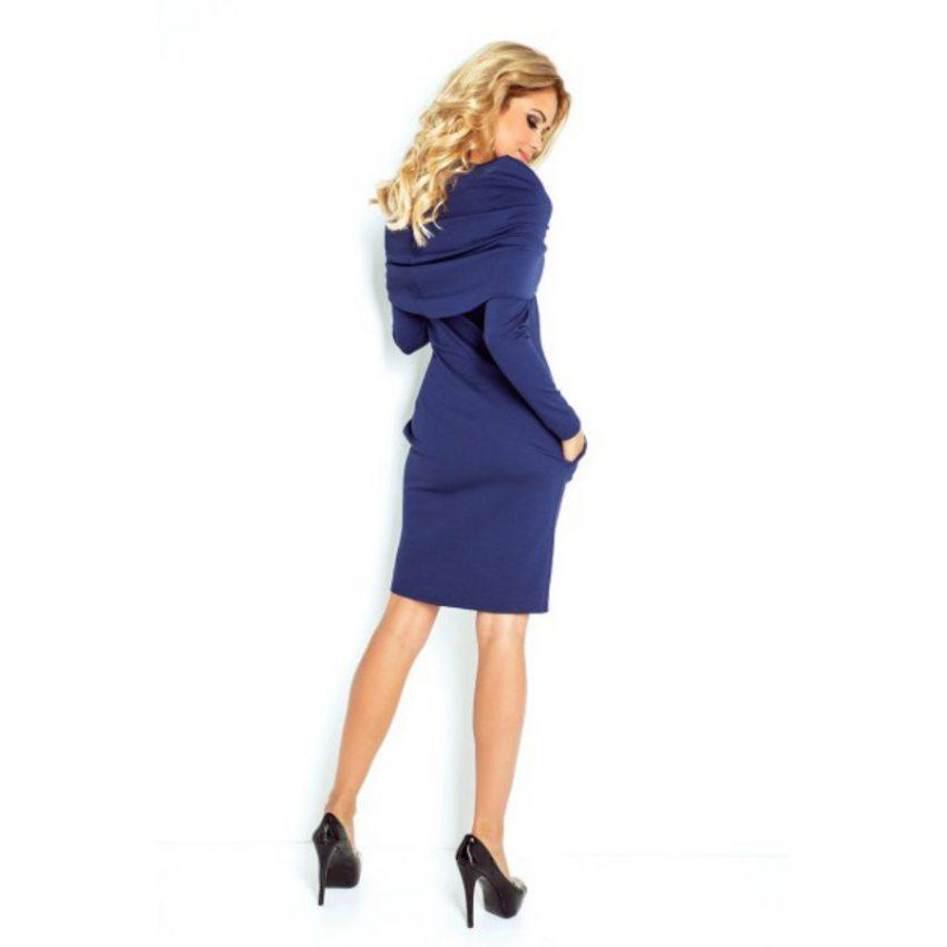 966eaebcf412 Elegantné šaty na jeseň-zimu - tmavo modré