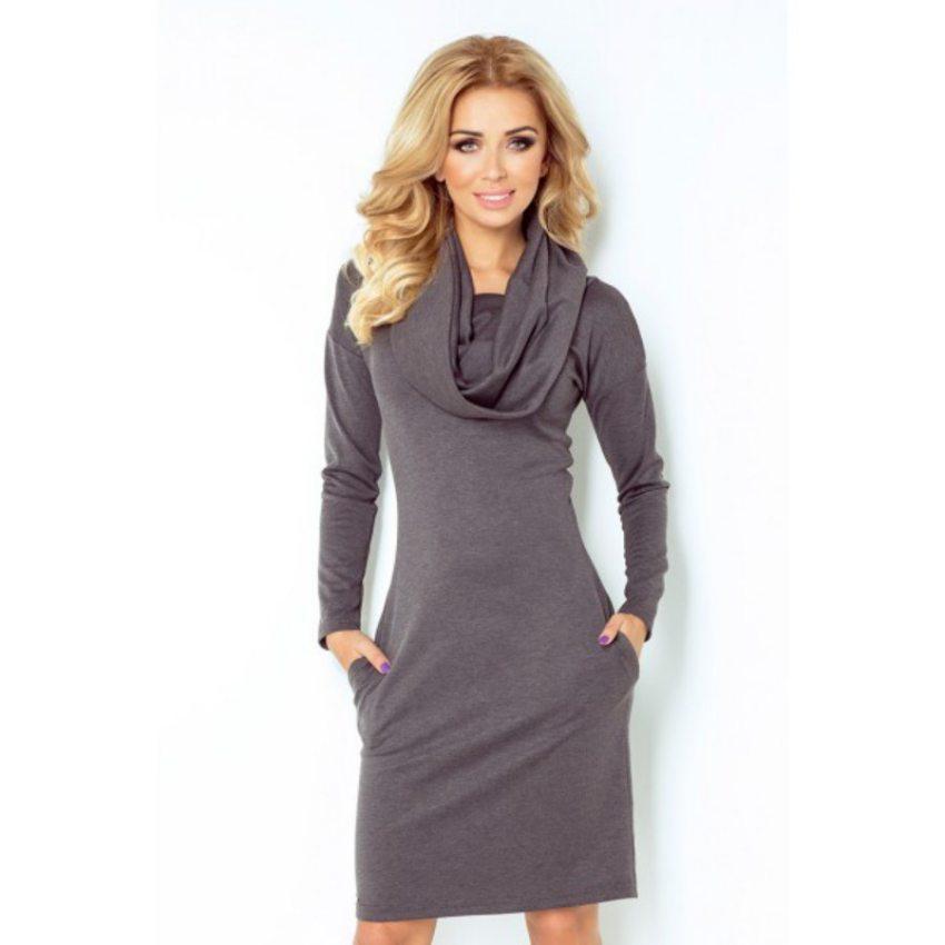 9f6744a7a elegantné šaty na jeseň,zimu šedé