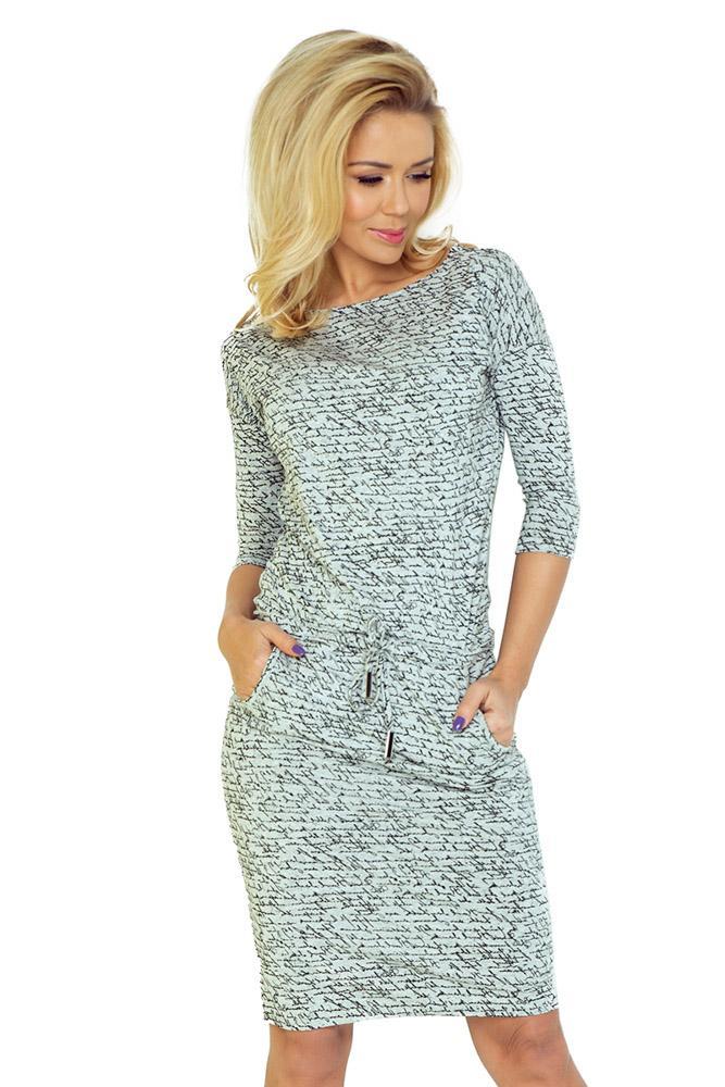 f19ff3e09115 pohodlné šaty s lodičkovým výstrihom s potlačou šedé numoco