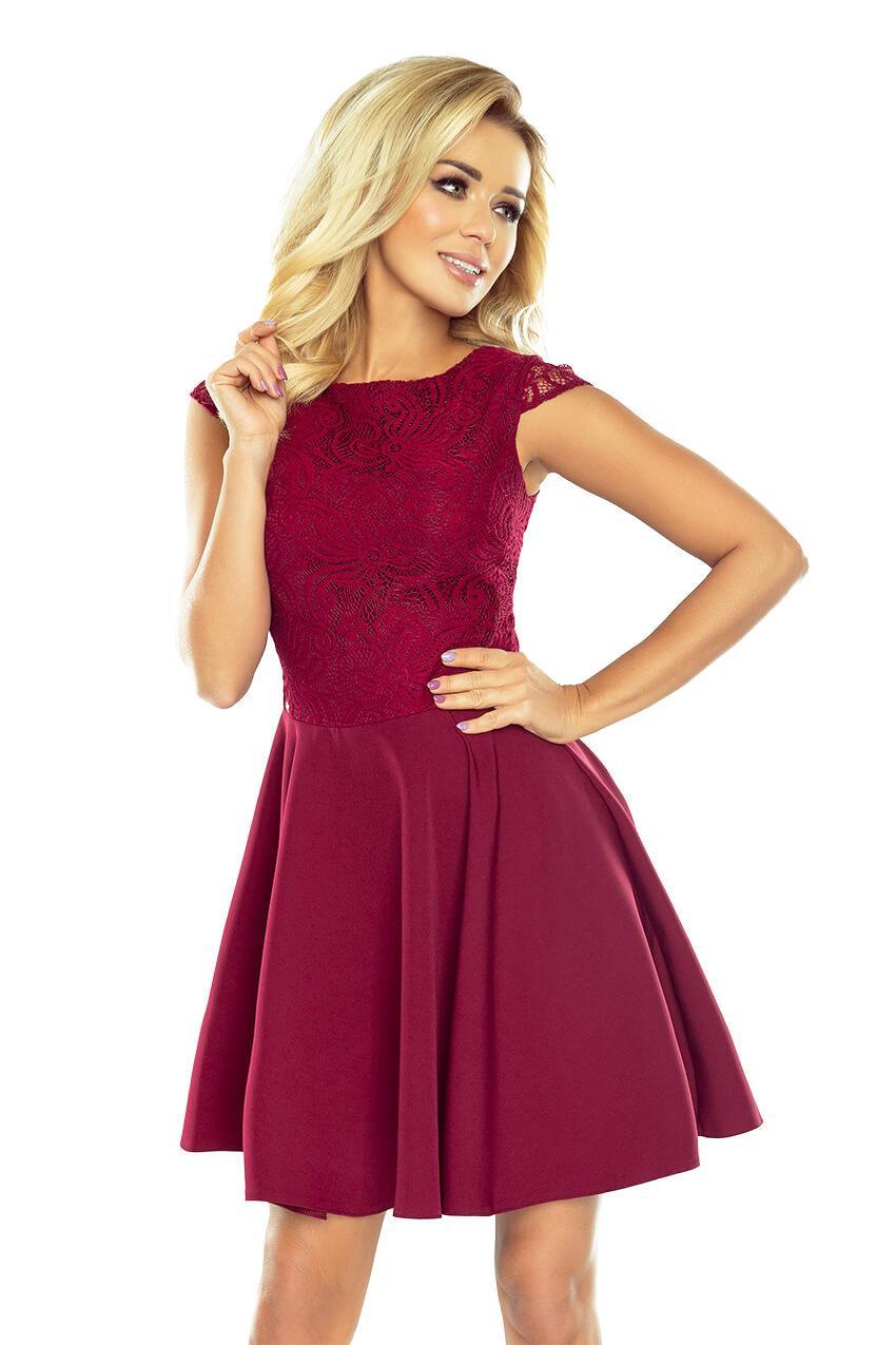Večerné šaty  Koktailové šaty s lesklou čipkou bordové 157-3 259b392866e